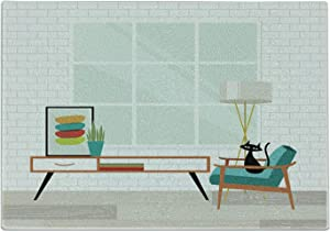 Ambesonne Mid Century Cutting Board, Cozy Room Scene Illustration with Modern Style Furniture and Cat, Decorative Tempered Glass Cutting and Serving Board, Small Size, White and Multicolor