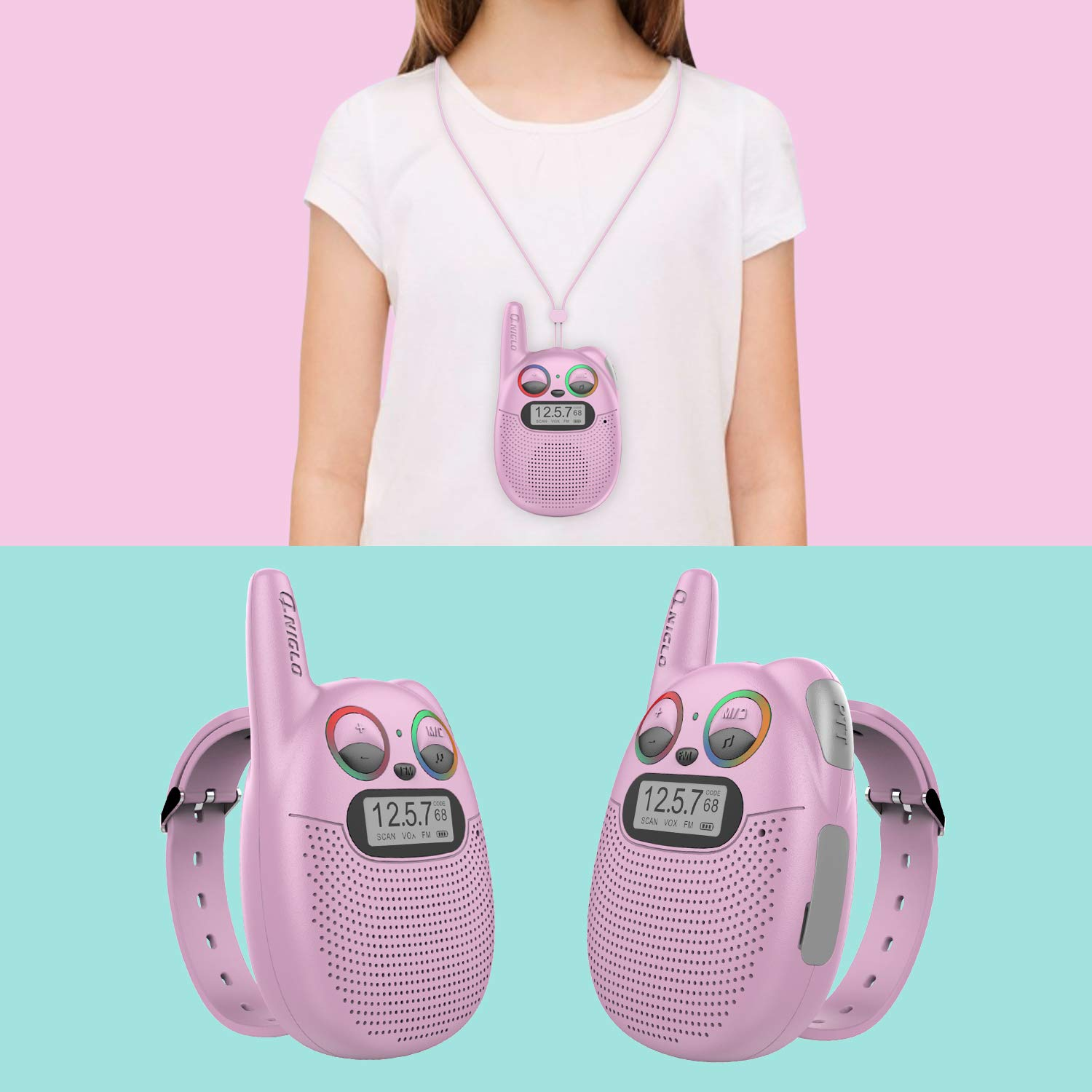 Qniglo FRS Walkie Talkies with FM, Wearable & Rechargeable Walkie Talkies for Kids, up to 2 Miles Kids Walkie Talkies for Bicycle, Hiking, Camping, Running (2 Packs, Pink) by Qniglo (Image #2)