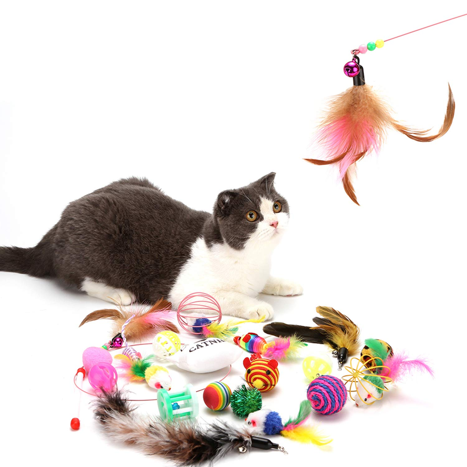 HOLECO Cat Toys Kitten Toys Assortments(20pcs) Feather Teaser Wand,Balls,Feather Toy,Mice Toy Interactive Toys Set for Indoor Cats Gifts for Cat Puppy Crinkle Balls