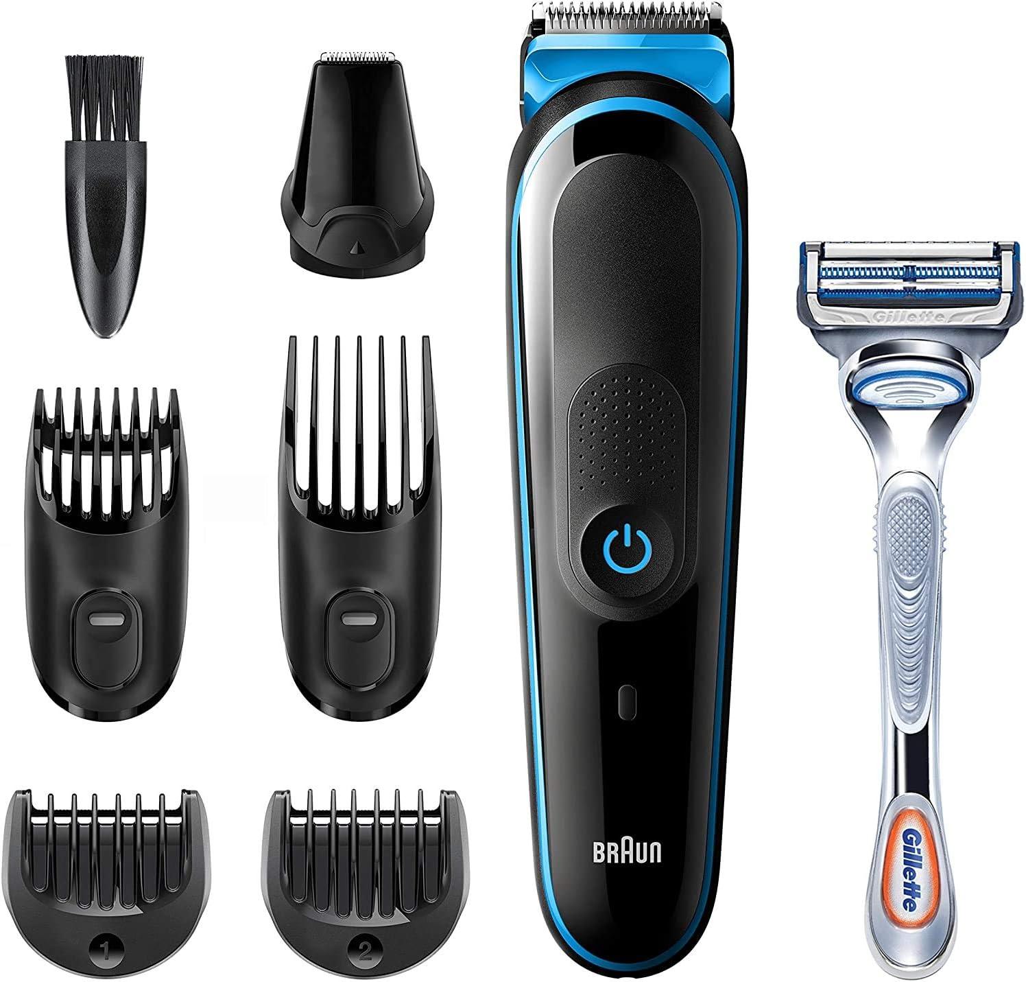 Braun Recortadora MGK3242 7 en 1, Máquina recortadora de barba, cortapelos y recortadora facial para hombre, color negro/azul: Amazon.es: Salud y cuidado personal