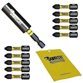 SabreCut SCRK3 - Juego de 11 brocas de impacto magnéticas (32 mm, PZ2, 60 mm, para Dewalt, Milwaukee, Makita, Bosch y otros)