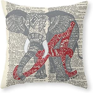 Sea Girl Soft Roll Tide (Alabama Elephant) Throw Pillow Indoor Cover Pillow Case For Your Home(16in x 16in)