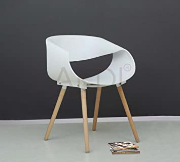 lakdi White Moulded PP Compound Cafe Chair Comes with Rubber Wood Legs - Ideal for Cafeterias,Home & Offices MFN(132231_11)