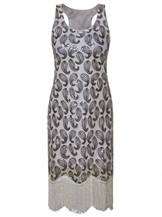 46ad434339c5 Vijiv Women's 1920s Gastby Sequined Embellished Fringed Paisley Flapper  Dress - Silver -