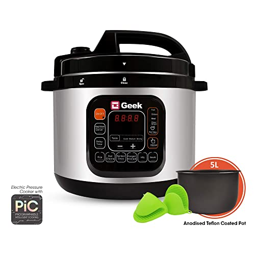 9. Geek Robocook Automatic 5 Litre Electric Pressure Cooker with 11 in 1 Function, Feather Touch Preset Menu (Non Stick Pot, Black)
