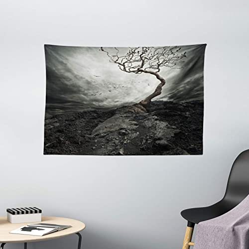 Ambesonne Horror House Tapestry, Black and White Dramatic Mist Sky Gulls in Air Lonely Tree Enchanted Windy Day Print, Wide Wall Hanging for Bedroom Living Room Dorm, 60 X 40 , Gray