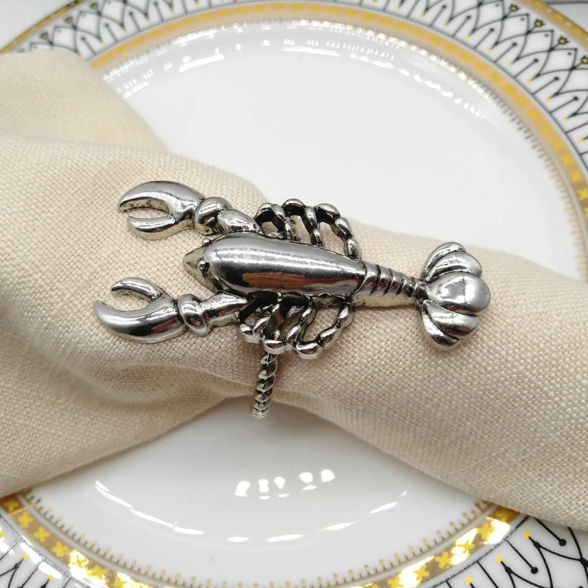 Beach Theme Table Decor Accessory Joyindecor Seahorse Napkin Rings Set of 6 Vintage Ocean Nautical Diamond Metal Napkin Ring Holders for Wedding Party Crystal Seahorse Golden