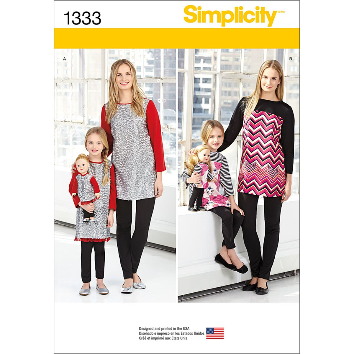 Simplicity US1333A Size A Child's/Misses and 18-Inch Doll Tunics and Knit Legging