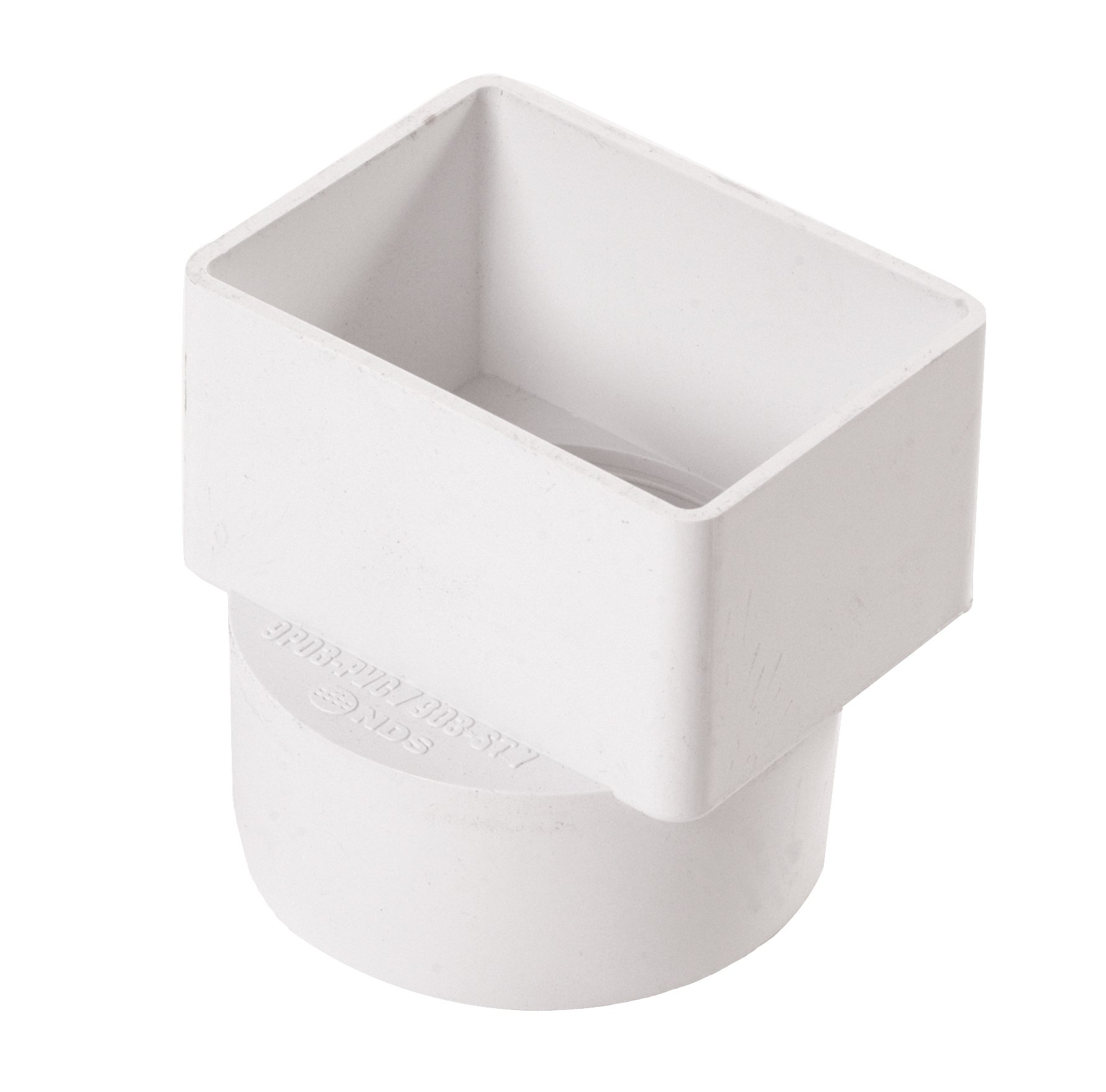 NDS 903 Styrene Downspout Adapter, 2-Inch by 3-Inch by 3-Inch, White Solvent