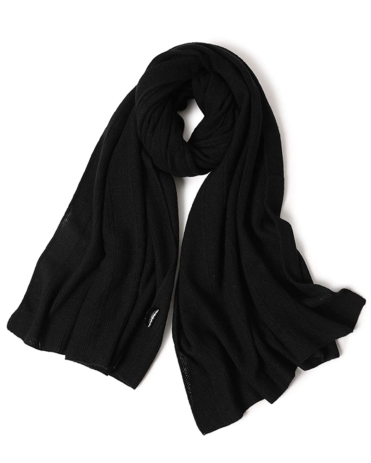 Blackplaid Ellettee, 100% Cashmere Knitted Scarf Premium Shawl Luxurious Elegant Solid color Wrap Art Oversized Shawl, Oblong