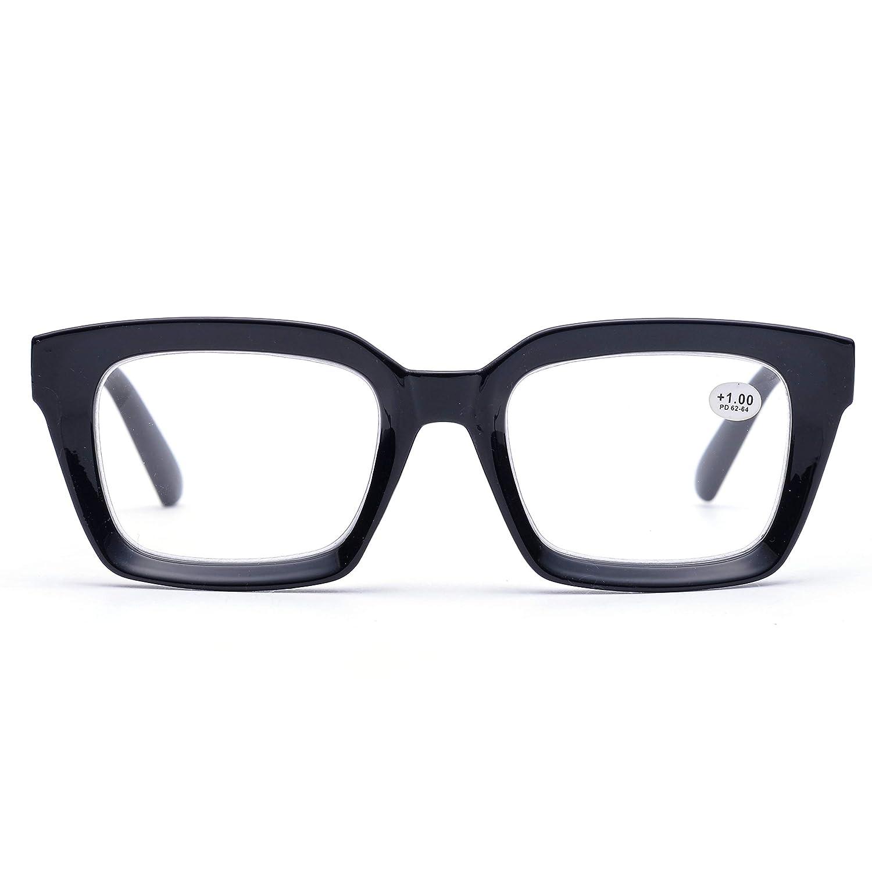 792bd608794 Amazon.com  Retro Oprah Style Square Reading Glass Big Eyeglass Frames Large  lens 50mm (Black