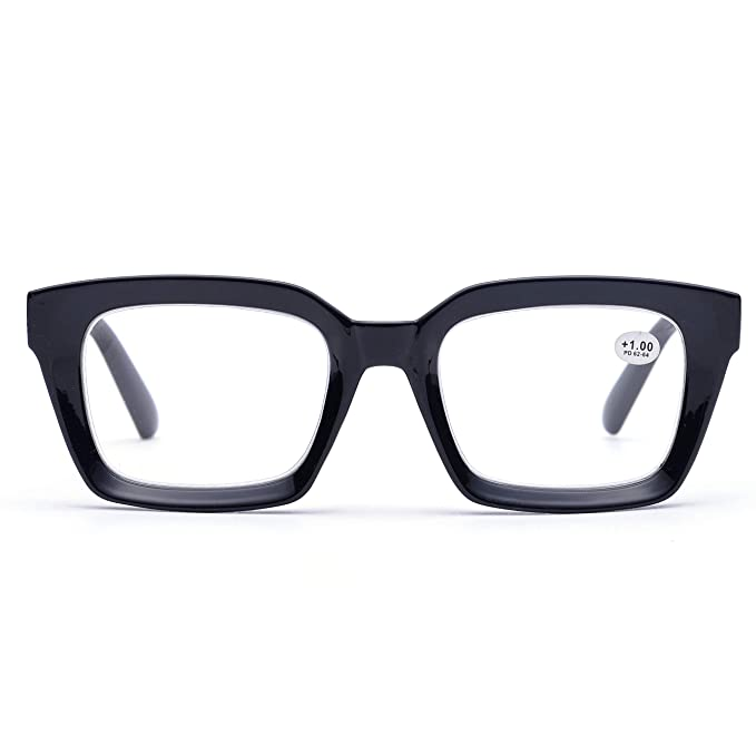 b0c5a52a64f Retro Oprah Style Square Reading Glass Big Eyeglass Frames Large lens 50mm  (Black