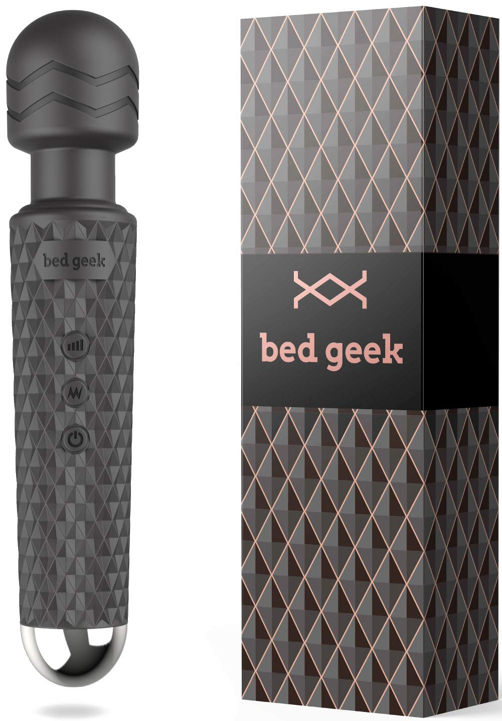 Wireless Full Body Personal Wand Massager bed geek Handheld Waterproof Massager 20 Vibration Patterns 8 Speeds for Stress Relief in Black by bed geek