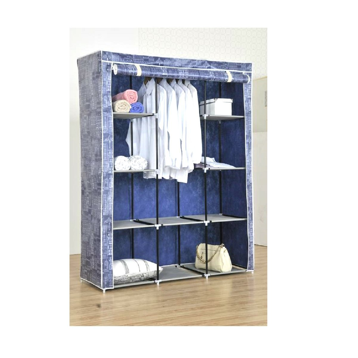 66.5 x 51.5 x 18 Inches Uniware Large PEVA Material Tall Roll Up Clothes Closet with Dustproof Cover Blue FW2887