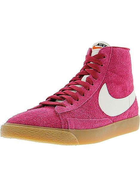 NIKE Blazer Wmns Vintage Suede Mid Mujeres Zapatilla de Deporte de Cuero Real de Rosa 518171 614: Amazon.es: Zapatos y complementos