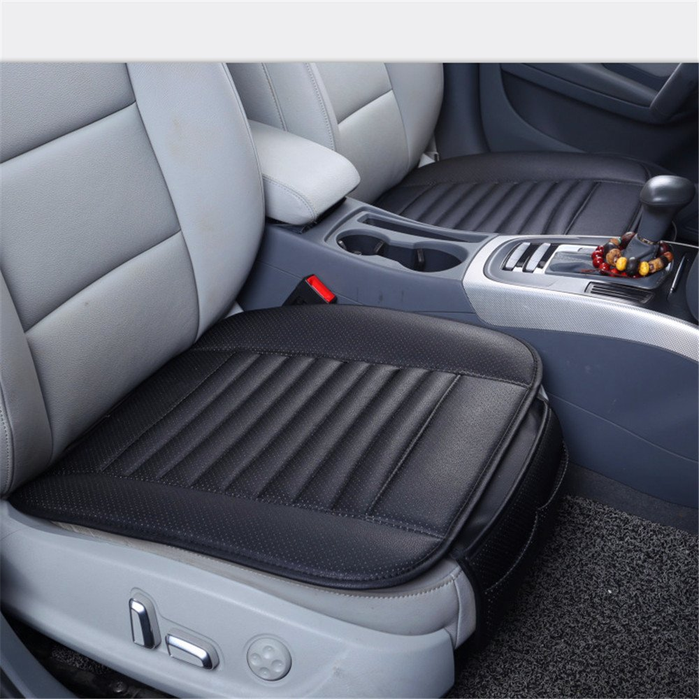 Car Seat Cushions Universal Auto Interior Front Seat Cover Mat Protective Cover Pad Single Seatpad for Auto Driver Car Supplies Office Chair with Bamboo Charcoal Breathable PU Leather (Black) AENMIL