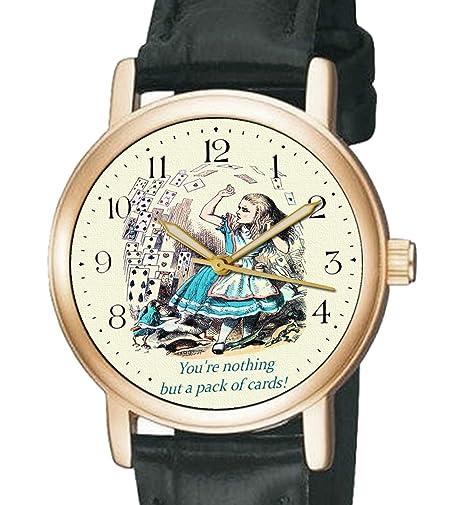 No Somos Nada pero un paquete de tarjetas. Symbolic Alicia en el país de las maravillas Vintage Art Print Unisex Reloj de pulsera: Amazon.es: Relojes