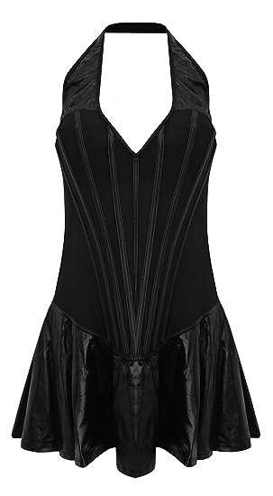 Teatro improvisado para mujer Sexy traje de neopreno para mujer de costura para ropa interior lencería PVC negro Funda de piel sintética: Amazon.es: Ropa y ...