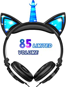 Glowing Unicorn Kids Headphones for Boys Girls - Cat Ear LED Headphones Light Up Wired Adjustable Foldable 85dB Volume Limited On/Over-Ear Headphone for Game Travel Headset School Birthday Gift, Black