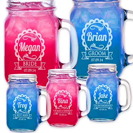 Amazon 1 Cute Personalized Wedding Mason Jar Bridesmaid Gift
