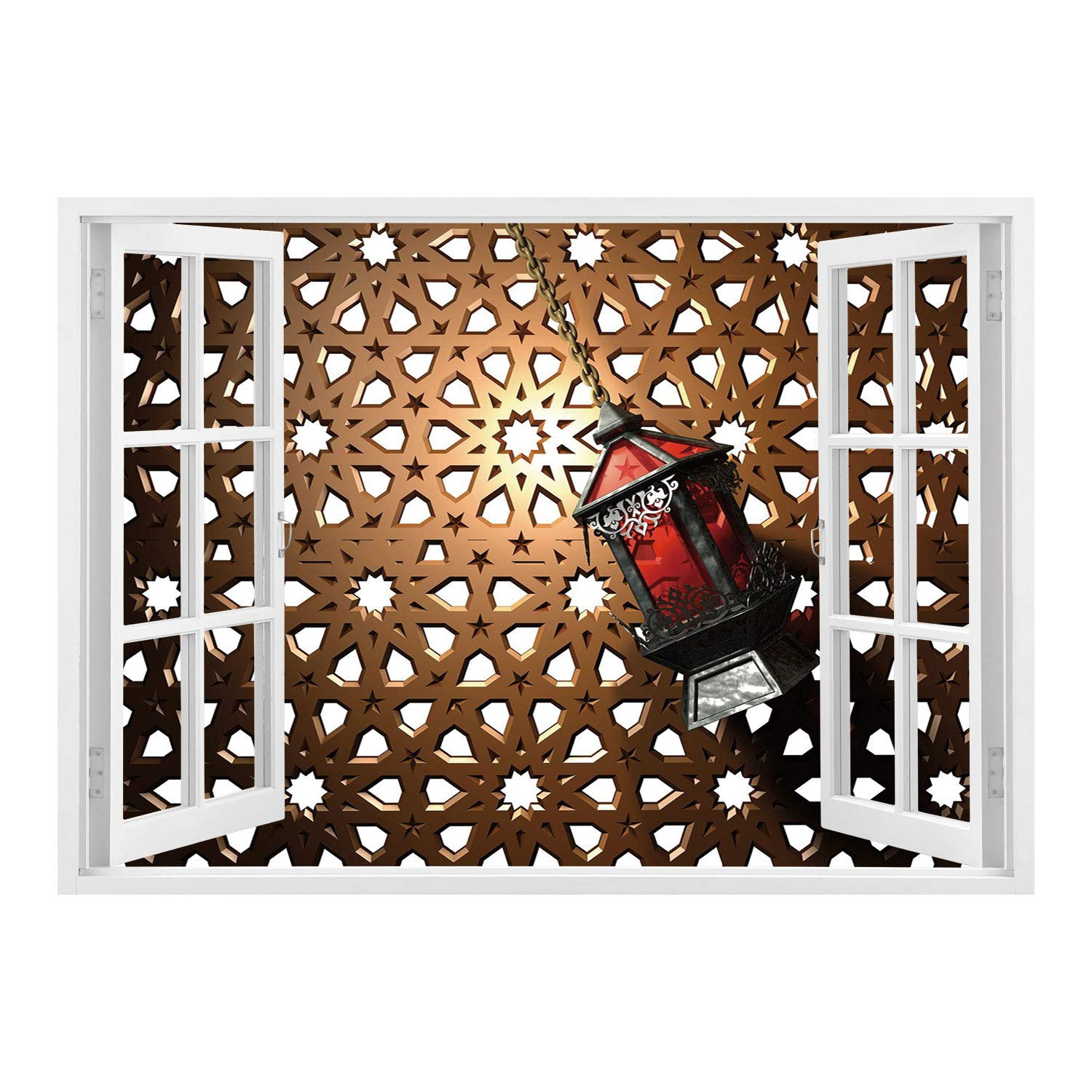 SCOCICI Wall Sticker,Window Looking Out Into/Lantern,Egyptian Fanoos in a 3D Style Realistic Illustration Moroccan Backdrop Design Decorative,Bronze Red Grey/Wall Sticker Mural