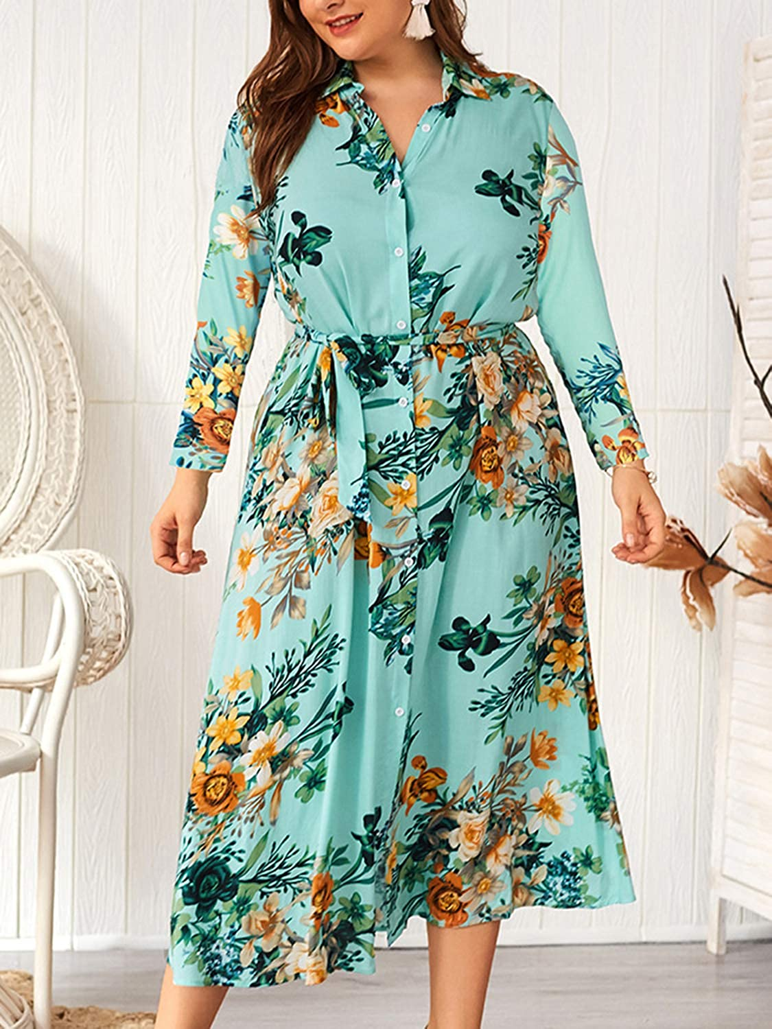 CHARLES RICHARDS Womens Plus Size Dresses Button up Long Sleeves Floral Maxi Dresses with Belt