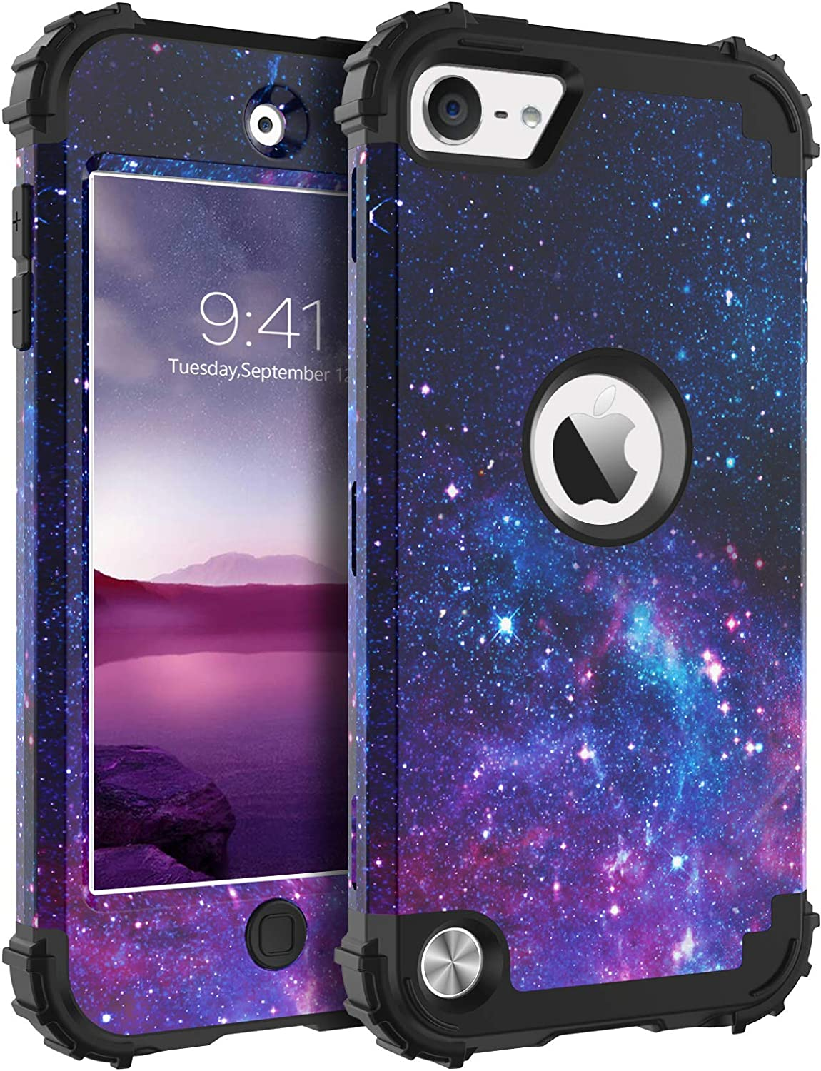 BENTOBEN iPod Touch 7th Generation Case, iPod Touch 6th/5th Case, 3 in 1 Hybrid Hard PC Soft Rubber Heavy Duty Rugged Bumper Shockproof Phone Cover for iPod Touch 7th/6th/5th Generation, Purple