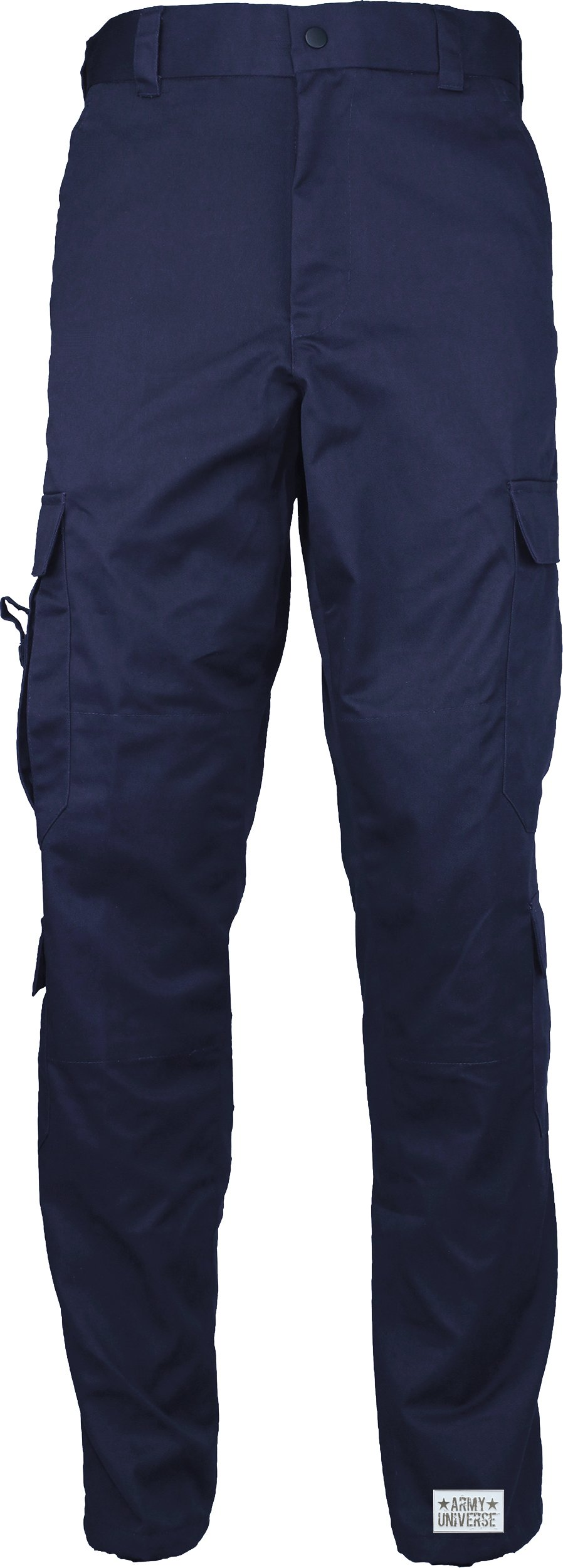 Navy Blue Uniform 9 Pocket Cargo Pants, Poly Cotton Work Pants for EMT EMS Police Security with Pin - (W 31-35 - I 29.5-32.5) Medium
