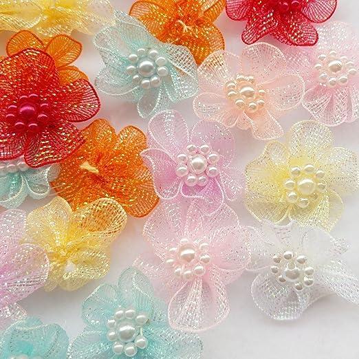 30pcs Organza Ribbon Flowers Bows Butterfly Pearl Appliques Wedding Decor