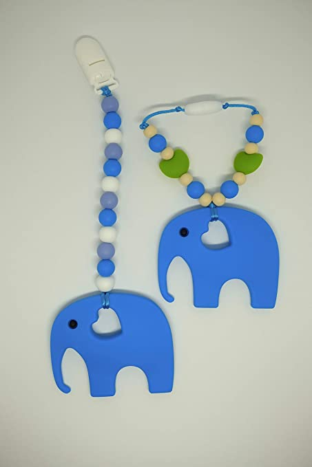 buy elephant silicone teether by drooly chews gummy wear blue