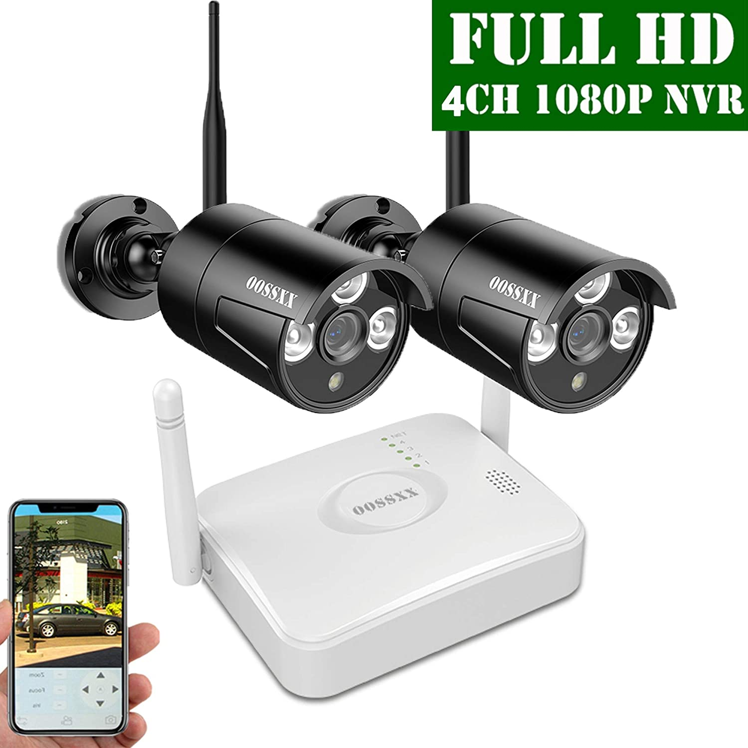 2019 Update OOSSXX 4-Channel HD 1080P Wireless Mini Security Camera System,2Pcs 1080P Wireless Indoor Outdoor IR Bullet IP Cameras,P2P,App,No HDD