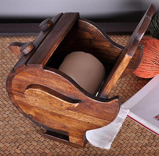 MHGAO Caja de Tejido de Madera Creativa Retro Que Bombea la Caja de la Toalla de Las Cajas de Papel importó la Sala de Estar casera de Gama Alta la ...