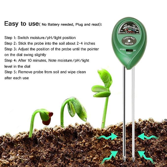 ToWinle 3 en 1 Medidor Humedad PH Luz Suelo Tierra Plantas Sensor Sonda de Humedad Digital(No necesita batería): Amazon.es: Jardín