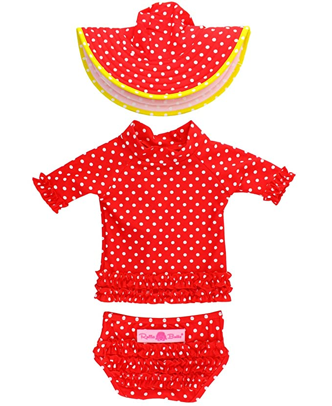 45d5527a1 Amazon.com: RuffleButts Baby/Toddler Girls Short Sleeve Ruffled Rash Guard  and Swim Hat Set UPF 50+ Sun Protection: Clothing