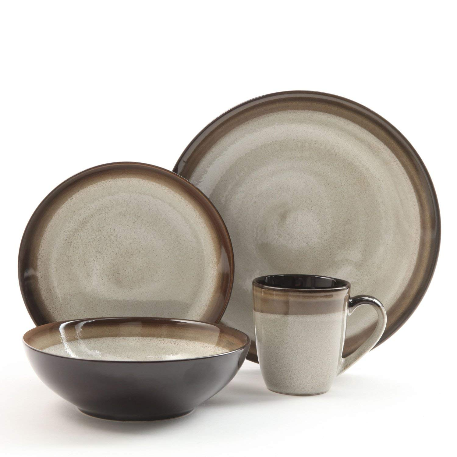 Gibson Elite 90602.16RM Couture Bands 16-Piece Dinnerware Set, Brown and Cream