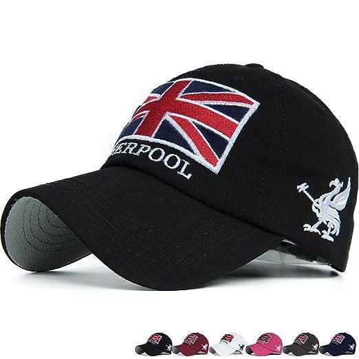 REDSHARKS Union Jack England Flag Baseball Cap Dad Trucker Hat Unstructured  Adjustable Embroidered Patch Black b1395fcf79e