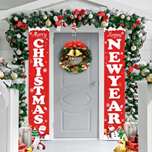 YARNOW 1Pcs Christmas Decorations Banner - New Year Christmas Porch Sign Elf Decor Xmas Hanging for Xmas Holiday Indoor Outside House Home Decor Wall Classroom Yard, Red