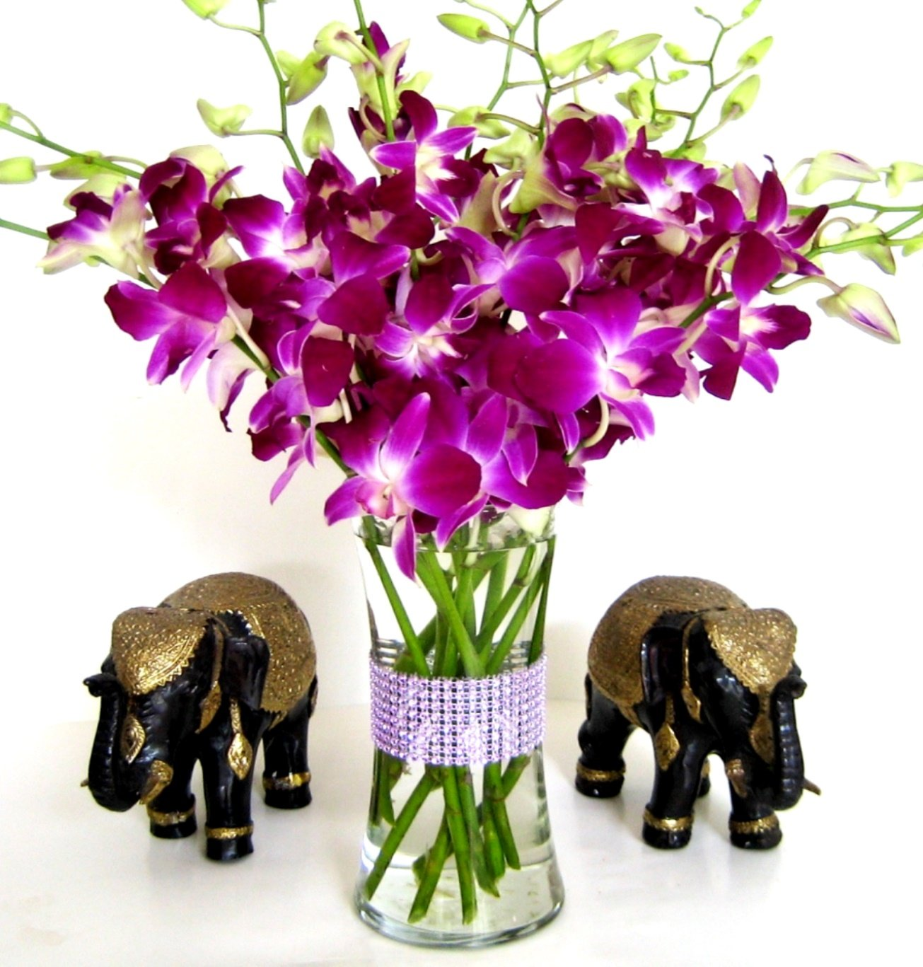 Amazon purple dendrobium orchids 10 stems orchid with amazon purple dendrobium orchids 10 stems orchid with rhinestone mesh ribbon vase fresh cut format orchid flowers grocery gourmet food izmirmasajfo Images