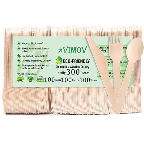VIMOV 300 Piezas Cubertería desechable de Madera, ecológica, Biodegradable, para Fiesta, Camping
