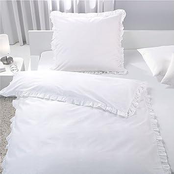 7dreams Romantische Bettwäsche Mit Rüschen Weiß 100 Baumwolle