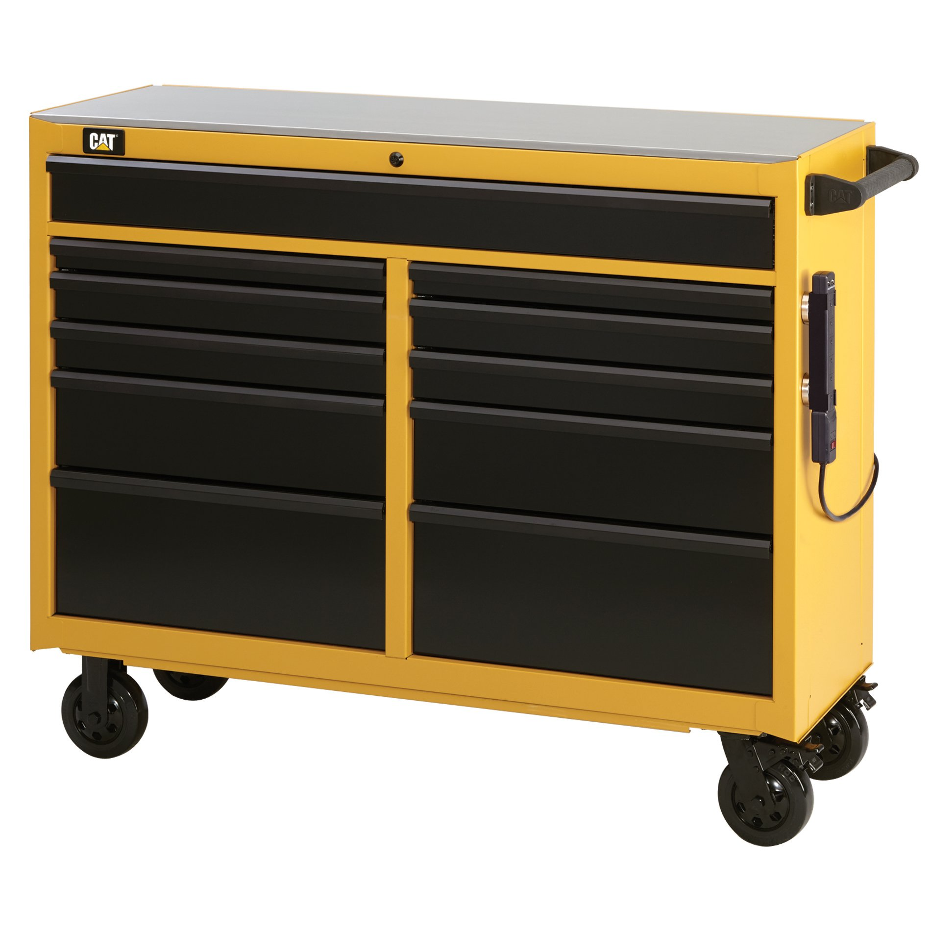 Cat 11-Drawer Ball-Bearing Workstation with Stainless Steel Work Surface, 52'' W - Designed, Engineered and Assembled in the USA by Cat Tool Storage