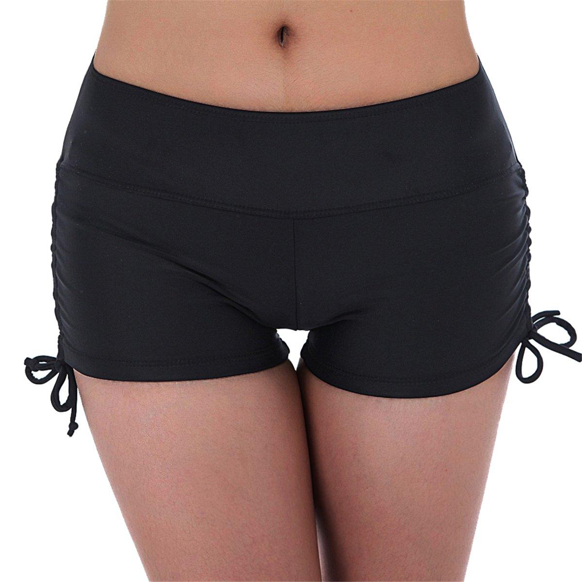 UNOW Women's Sporty Adjustable Boy Leg Wide Waistband Fully Lined Bikini Bottom Beach Briefs Tankinis Board Shorts(Black,L)