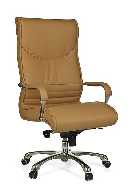 Amstyle Milano Xxl Chaise De Bureau Mecanisme Synchrone Cuir Caramel