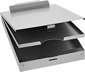 AmazonBasics Metal Clipboard with Paper Storage, Aluminum - Three-Tier