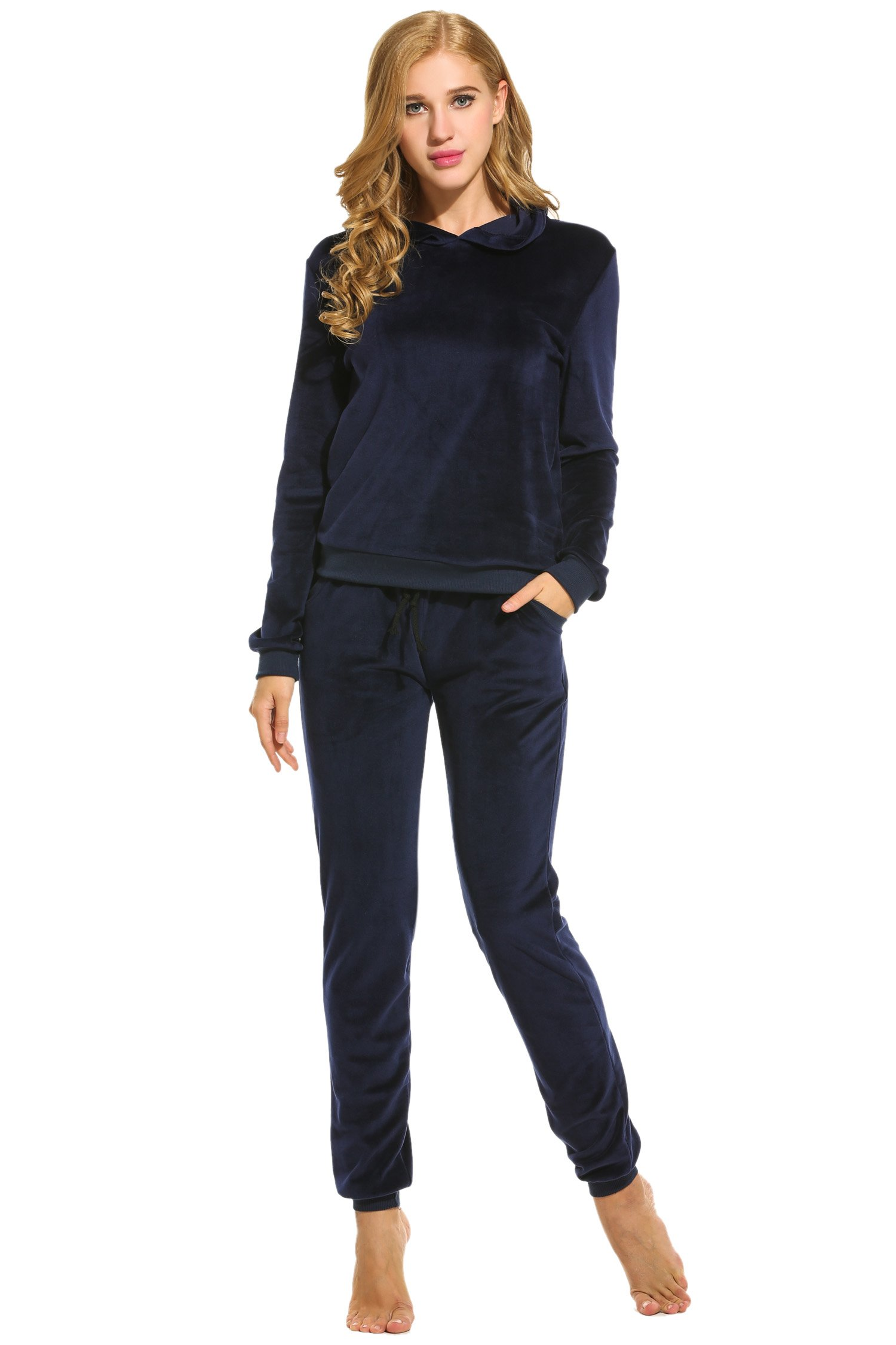 Hotouch Womens 2 Piece Set Basic & Hooded Velour Sweat Track Suit Navy Blue M