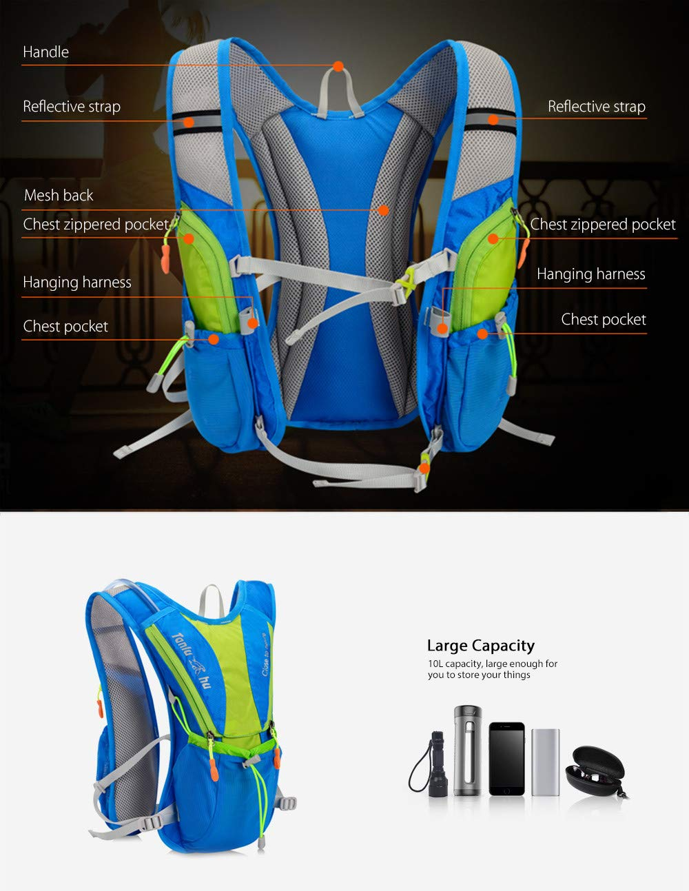 Amazon.com : Tanluhu 675 10L Outdoor Backpack Hydration Pack ...