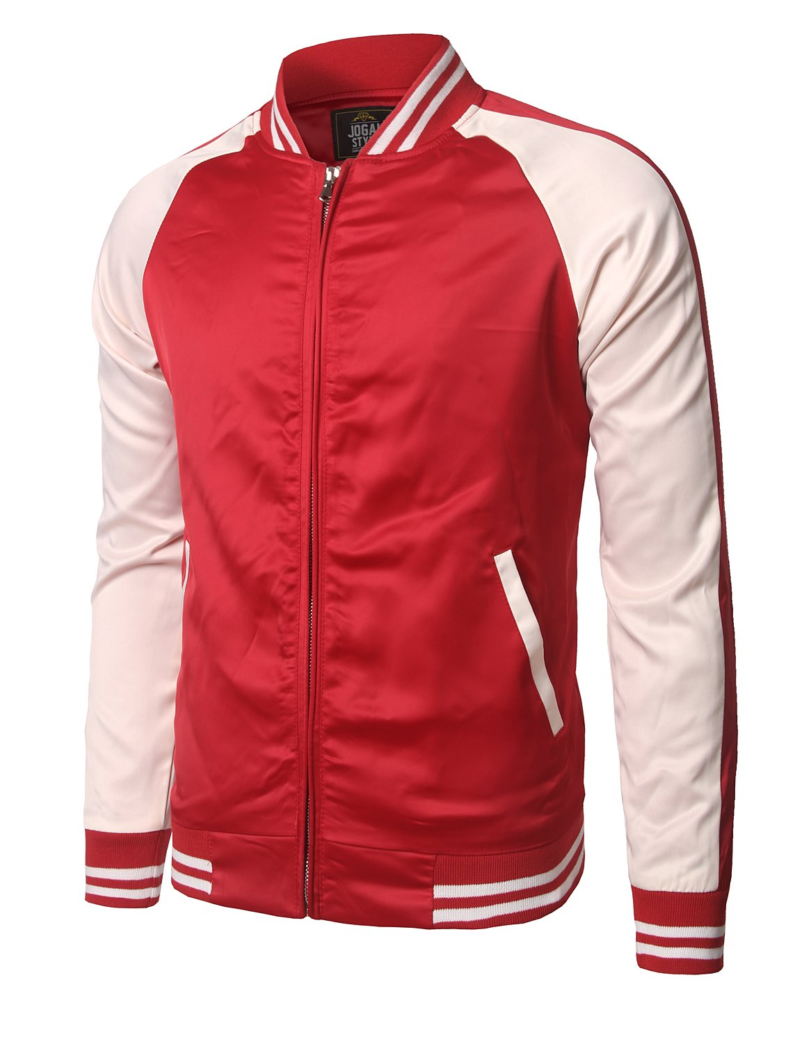 JOGAL Mens Zip up Stain Contrast Colors Varsity Baseball Bomber Jacket X-Large Red