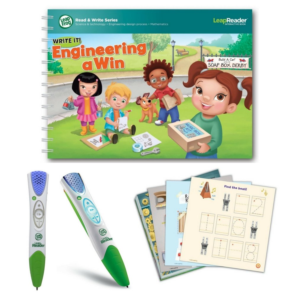 LeapFrog LeapReader Writing Workbook: Write it! Engineering A Win & LeapReader Read & Write System Green, Ages 4-8 Years, Interactive Learning System For Kids, STEM, Educational Tools, Activity Bundle by LeapFrog (Image #1)