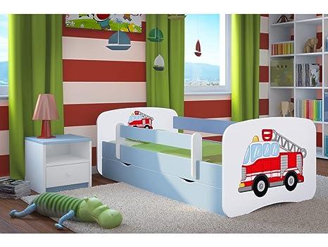 140x70 cm, Rot Jugendbett Kinderbett mit einer Schublade und Matratze Wei/ß ACMA I 140 160 180