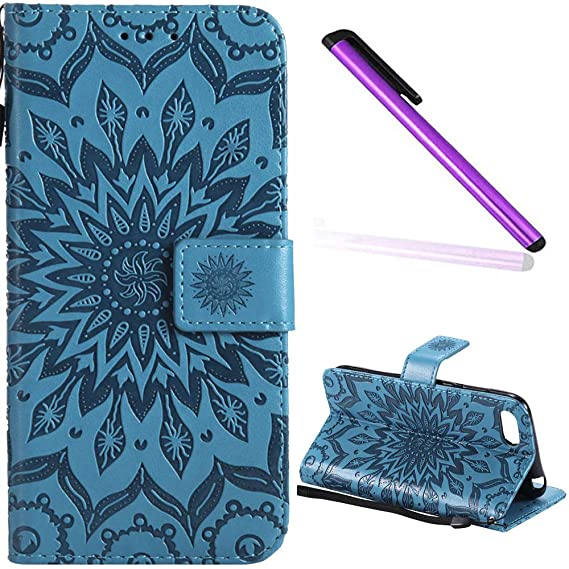 EMAXELER Huawei Y5 2018 Flip Case,Huawei Y5 2018 Case Sun Flower Embossed  Design PU Leather Stylish Wallet with Credit Cards Slot Cash Pockets Case